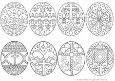 Complex Easter egg coloring sheets. Crayons, paint, or colored pencils can enhance your prayer life!