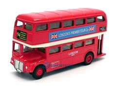 London Bus Red Double Decker Die Cast Metal Model Bus Toy Pull Back & Go Action