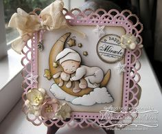 I created this card using Chrissy Armstrong's gorgeous Cradled by the Moon stamp for Whimsy Stamps. The sentiment is from the Magical Mini Letter Seals set by Raindrop Echo Designs, also by Whimsy Stamps.