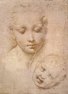 Raphael | Study of Heads, Mother and Child