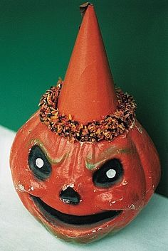 Vintage Halloween Paper Mache Jack O' Lantern with Hat.