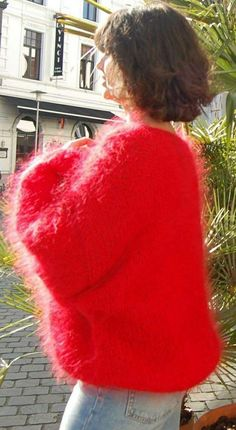 Fluffy Sweater, Mohair Sweater, Vintage Knitting, Hand Knitting, Gros Pull Mohair, Red T, Angora, Knitwear, Cashmere