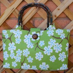 Beautiful lime green tote with white flowers by Butterflysisters, $15.00