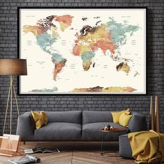 World magnetic travel map with antique white frame travel maps world map wall art world map push pin large watercolor wall gumiabroncs Images