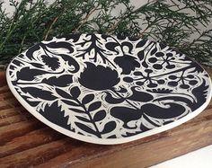 Light Botanical Ceramic Plate Wall Hanging  Pottery // Ceramics // Houseware  Oxide Pottery Lynchburg, Virginia
