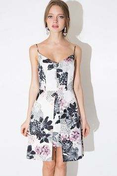 Black Floral Print Layered Asymmetrical Hem Slip Dress #Black #Dress #maykool