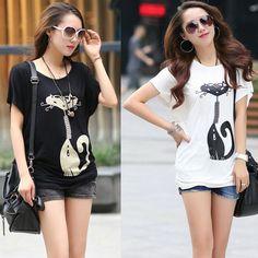 Black-White-PLUS-SIZE-L-4XL-Women-Casual-Loose-Tees-2014-New-Summer-Korean-Cute-Cate.jpg (508×508)