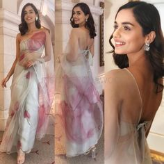 Miss world# manushi chillar. with brain 🌌 Desi Wedding Dresses, Indian Wedding Outfits, Wedding Sarees, Indian Outfits, Saree Designs Party Wear, Saree Blouse Designs, Saree Draping Styles, Saree Styles, Dress Indian Style