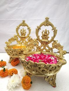 Brass Laxmi Ganesh urli weight 6.200 kilogram Separate weight of both urli 3.100 kilogram Height 32 cm both Diameter 20 cm both Widely used in Hindu worship and most widely used in temples for abisheka purposes as well as decorative purposes. Brass generate a Divine sound that helps purify the