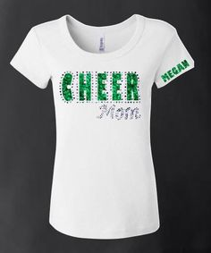 Show your cheer mom status in BLING! CHEER is in your choice of colors surrounded by clear hotfix rhinestones and Mom is all blinged out! Be sure to add the name in the space provided or we will not b