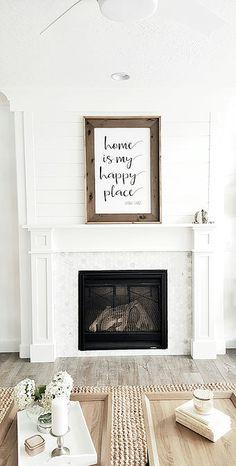 Whitelane Decor #whitelanedecor Craftsman fireplace mantel, shiplap above mantel, white walls, marble hexagon tile,