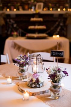 Rustic wedding reception table decorations