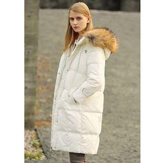 601dfdca4bc8c Minimalist 90% White Down Long Jackets Women Winter 2018 Casual Solid  Raccoon Fur Collar Plus