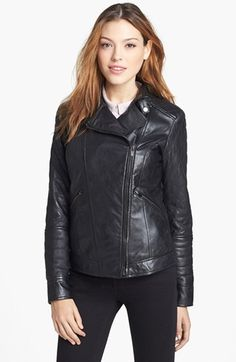 $237, Black Leather Biker Jacket: Quilted Leather Biker Jacket by LaMarque. Sold by Nordstrom. Click for more info: http://lookastic.com/women/shop_items/89187/redirect