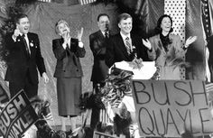 Dan Quayle speaks at Peony Park during a 1988 visit to Omaha. From left: Norm Riffel, State GOP Chairman, Governor Kay Orr, Rollin Olds, vice president Mutual of Omaha, Dan Quayle, Marilyn Quayle. Photo ran Oct. 6, 1985. THE WORLD-HERALD