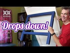 How to make a cool, space-saving drop down table. This folds up neatly against the wall when not in use. Free how-to video and free plans. You can do this!