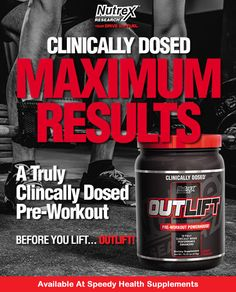 Before you lift, Outlift! Get the maximum results from your workout with this pre-workout powerhouse formula featuring ten fully clinically dosed performance enhancers. #nutrex #outlift #bodybuilding #Apopka #Florida