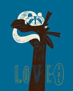 LOVE XXL by #JeanManuelDuvivier #illustrationart from #Belgium - #animals in #love #designs #Illustrations #prints #blue #giraffe #racoon #allyouneedislove #LaCambre school of #visualarts  #Closethecircle - if you buy this photo Jean-manuel Duvivier and Photocircle #donate 9% towards our project for #refugees in #Germany