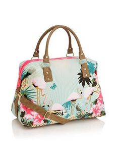 Accessorize Florida flamingo weekender. I've pinned this before but it's absolutely gorgeous!!! Tropical trend is awesome!!