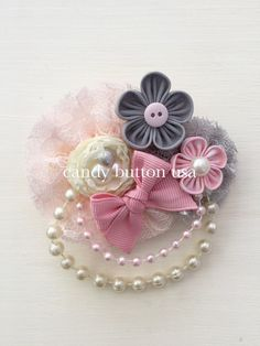 Pink Grey Hairclip * Flowers Lace Hairclip * Pearl Hairclip * Barette Hairclip Hairpin * Baby Shower Gift * Pearl Headband * Newborn
