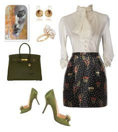 """""""Mysterious girl"""" by explorer-14812429634 ❤ liked on Polyvore featuring RED Valentino, Christian Louboutin, Ross-Simons and Hermès"""