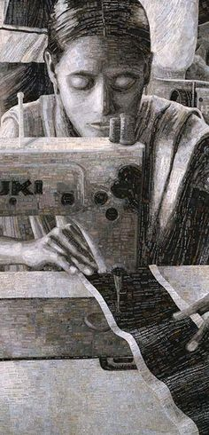 TERESE AGNEW | Portrait of a  Textile Worker, detail | quilt made of clothing labels, in honor of textile workers