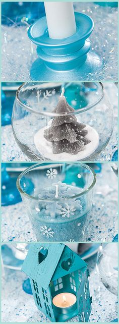 New years tablescape decoration in blue white silver snowflakes can be use - Decoration de noel bleu ...
