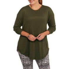 Plus Size French Laundry Women's Plus Crew Neck Swing Top with Lace Trim, Size: 3XL, Green