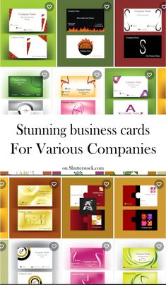 #business #card #template Explore this set of stunning business cards destined for various companies in various domains! Choose your favorite business card! #vector #illustration #company #identity #logo #symbol