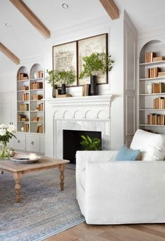 White Cream Interiors Farmhouse Elegant Family Room With Built In S And Wall Decor Magnolia Homes Market