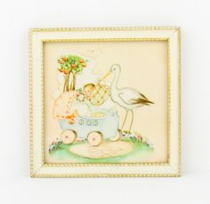 Vintage  Lovely scene  Stork with baby  by CrystalBlueVintage, $15.95
