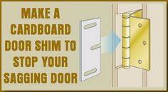 make a cardboard shim to fix your sagging door Bathroom Repair, Bathroom Doors, Home Improvement Grants, Diy Hanging Planter, Diy Home Repair, Painting Trim, Making Life Easier, Home Repairs, Houses