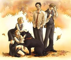 James and Sirius picking up chicks.  I love Lupin's face