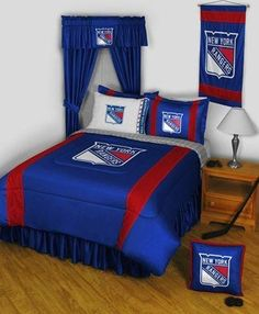 New York Rangers NY NHL Bed In A Bag Set by Sports Coverage. $159.95. New York Rangers NY bed in a bag set. This New York Rangers NY bed-in-a-bag set is perfect for any fan. Made of soft, wrinkle free polyester jersey. Each set includes- Twin: Microfiber sheet set-solid white flat and fitted sheet and 1 pillowcase with team logo and name- 1 Twin Comforter (66 x 86)- 1 Pillow Sham- 1 Twin Bed Skirt. Full: Microfiber sheet set-solid white flat and fitted sheet and 2 pillowcases w...