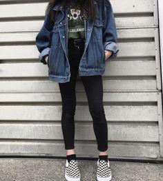 denim jacker leggings black skinny jeans green t shirt comfy casual outfits clothes korean fashion spring summer autumn winter school street everyday aesthetic soft minimalistic kawaii cute g e o r g i a n a : c l o t h e s Mode Outfits, Retro Outfits, Fall Outfits, Vintage Outfits, Casual Outfits, Fashion Outfits, Hijab Fashion, Grunge School Outfits, Korean Outfits School