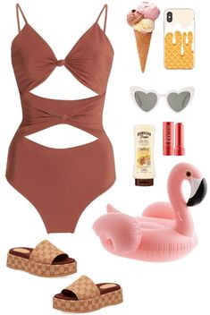 2 Outfit | ShopLook Beach Day Outfits, Summer Outfits, Swimsuits, Bikinis, Swimwear, Hawaiian Tropic, Witch Outfit, Outfit Maker, Sunnies