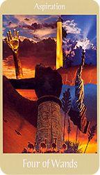 Four of Wands from the Voyager Tarot at TarotAdvice