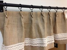 Burlap kitchen curtains are an interesting addition to shabby chic, primitive, country, or ecological decoration. Neutral Curtains, Floral Curtains, Cafe Curtains, Diy Curtains, Blackout Curtains, Short Curtains, Gingham Curtains, Patterned Curtains, Luxury Curtains