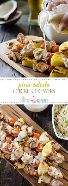 Fresh pineapple, cherry tomatoes, and coconut-marinated chicken take a classic cocktail to the grill and put it on the dinner table with these Pina Colada Chicken Skewers! #SundaySupper