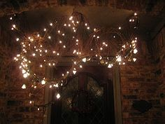 2 grapevine wreaths stretched out attached to hooks, mini lights