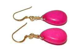 14k gold earrings, pink jade earrings, wire wrap briolette, 14 karat gold jewelry, gemstone jewelry, teardrop earrings, rose stone earrings by Regalities on Etsy