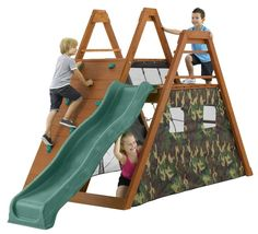 Camouflage Kids Rock Wall and Slide Timber Climbing Frame