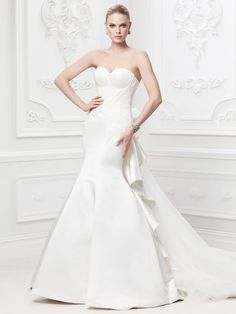 High Fashion Alert! Brand new Collection - Truly  Zac Posen I Style #ZP345004 features strapless duchess satin fit & flare gown with veiled tulle bodice I @David's Bridal