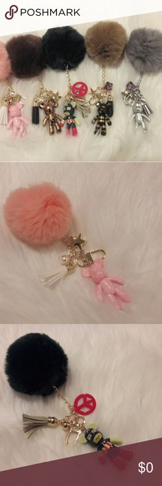 Pom Pom keychains with charms Very soft rabbit fur Charm with cute bear brick. High quality and well made keychains. Good for bag charms. Nice gift for any ages. Check on my list. Popobe Accessories Key & Card Holders