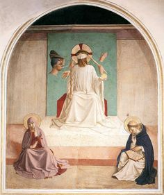 Meditation on the Passion – The Mocking of Christ by Fra Angelico. Fra Angelico and assistants, Mocking of Christ Italian, Florence, Convent of San Marco Renaissance Kunst, Die Renaissance, Renaissance Paintings, Italian Renaissance, Renaissance Artists, Fra Angelico, Catholic Art, Religious Art, Canvas Art