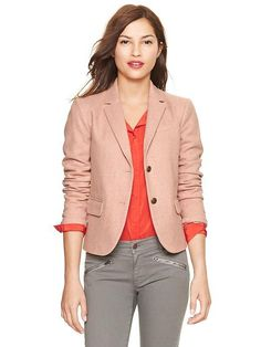 Gap Herringbone Academy Blazer - Pink Herringbone $118.00 - Buy it here: https://www.lookmazing.com/products/show/5284042?shrid=46_pin