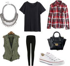 San Francisco Style Statement necklace + basic tee + plaid + military vest + leggings + converse