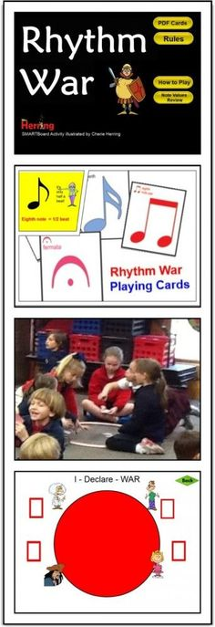 Rhythm WAR in the Music Room/ Here's an updated version of a great teaching game. Reinforce music and math concepts with this fast-paced card game. A SMARTBoard file is attached to help you introduce the game. Playing cards (PDF) are attached and linked for easy download.  A video illustrating the game in progress is also included in this blog post. Super cool and very fun!