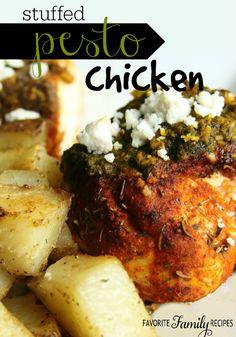 This stuffed pesto chicken is BURSTING with flavor! #pestochicken #pestochickenrecipe