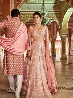 A beautiful palette of emerald baby pink and silver : designed by Anita Dongre Couture Bridal outfit Ideas, Bridal Dresses, Bridesmaid dresses, Indian Bridal outfit, Indian Wedding dresses Indian Bridal Outfits, Indian Designer Outfits, Bridal Dresses, Bridesmaid Dresses, Indian Fashion Trends, Pink Bridal Lehenga, Designer Bridal Lehenga, Lehenga Wedding, Indian Attire